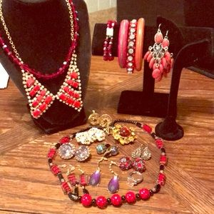 Lot of red/purple VTG to newer jewelry